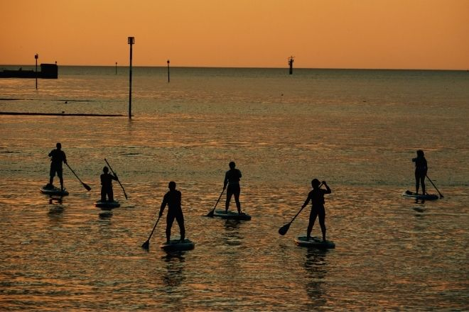 a group of people that are paddle boarding in the ocean