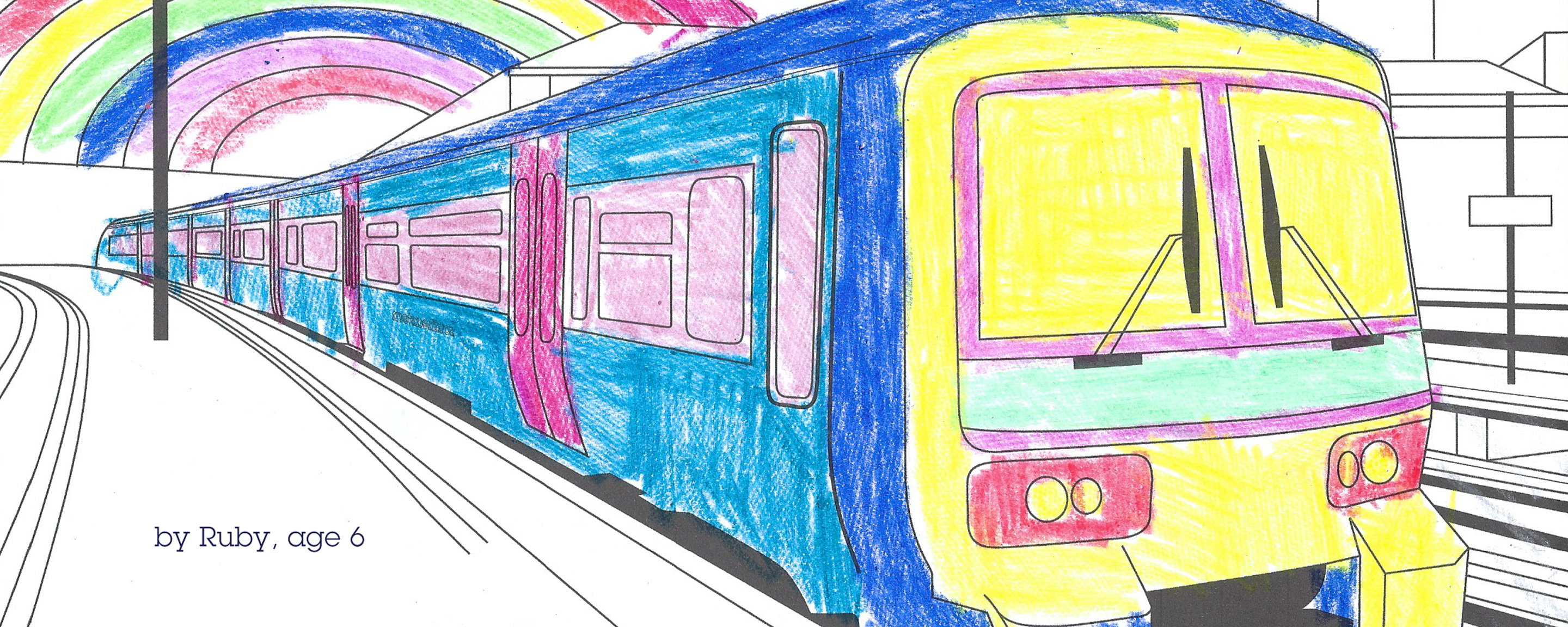 Picture of a coloured in train