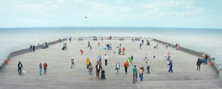 People by seaside