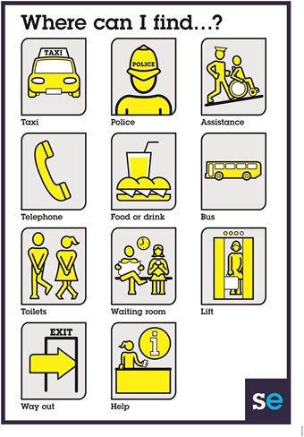 Assisted travel yellow icons