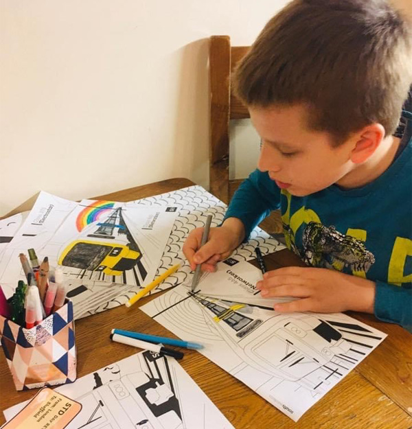 Colouring in at The Butterfly Autism charity