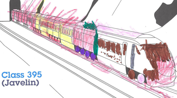 Colouring in of a Class 395 train