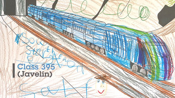 Coloured in picture of a class 395 train by Eleanor Backway