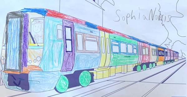 Coloured in picture of a class 465 train by Sophia Norris