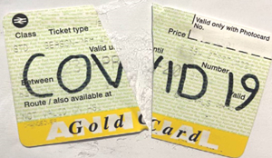Gold card season ticket marked with Covid 19