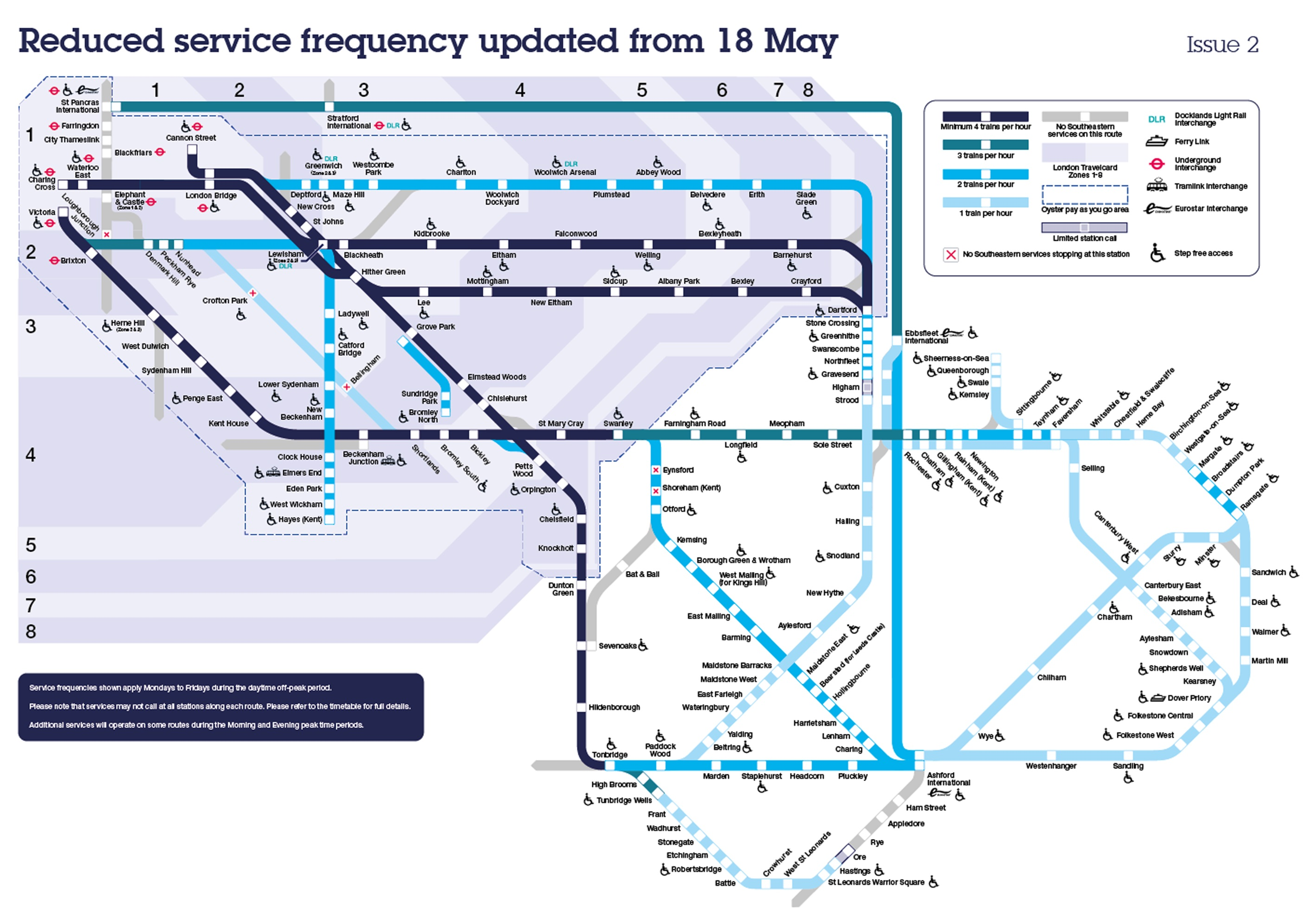 Reduced service frequency map from 18 May