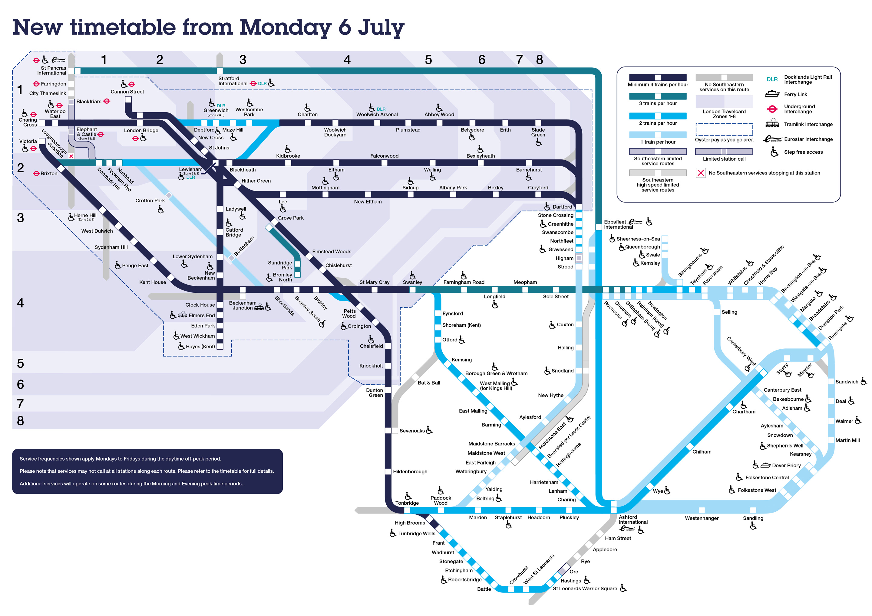 New timetable from Monday 6 July