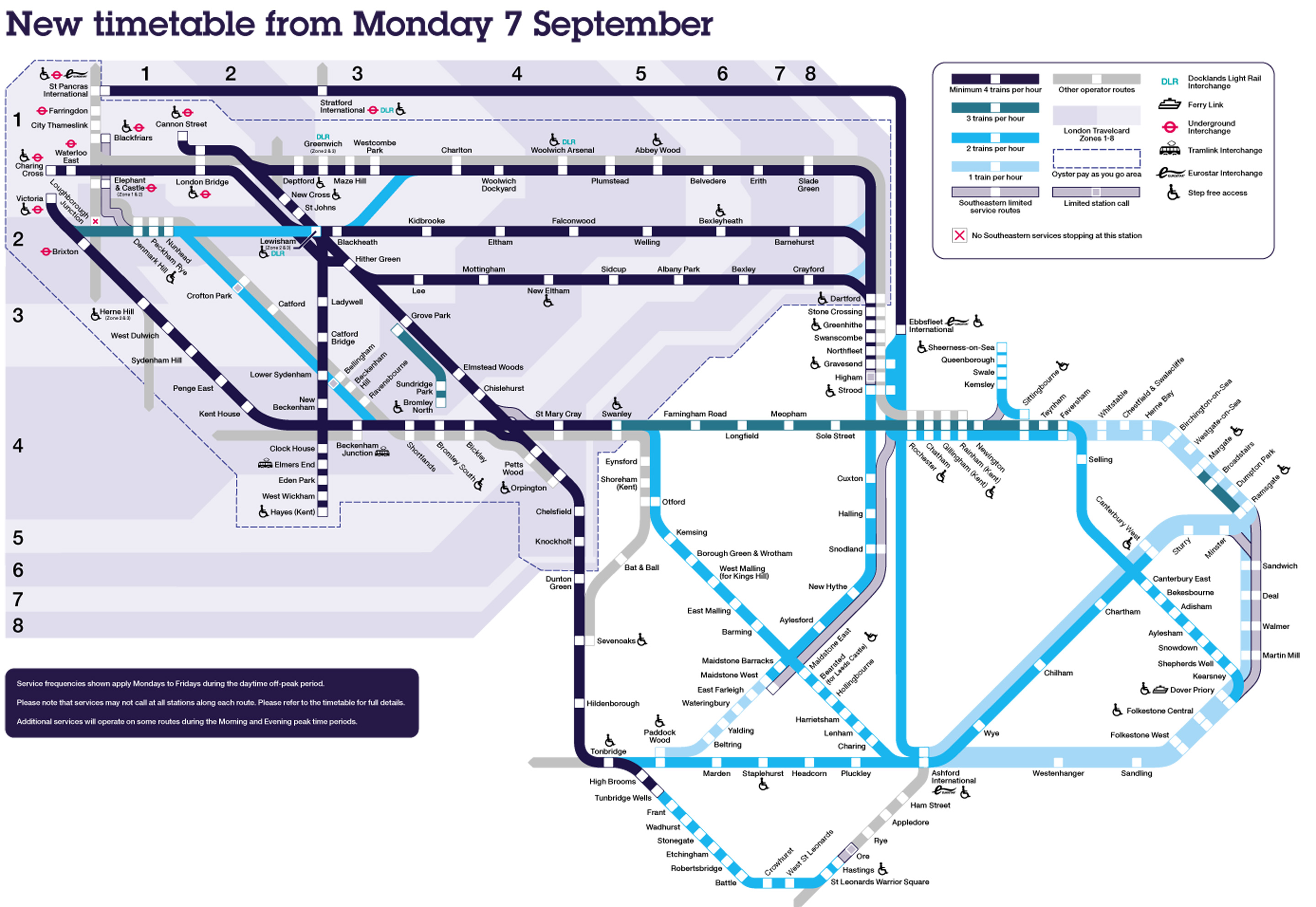 Revised timetable map from 7 September
