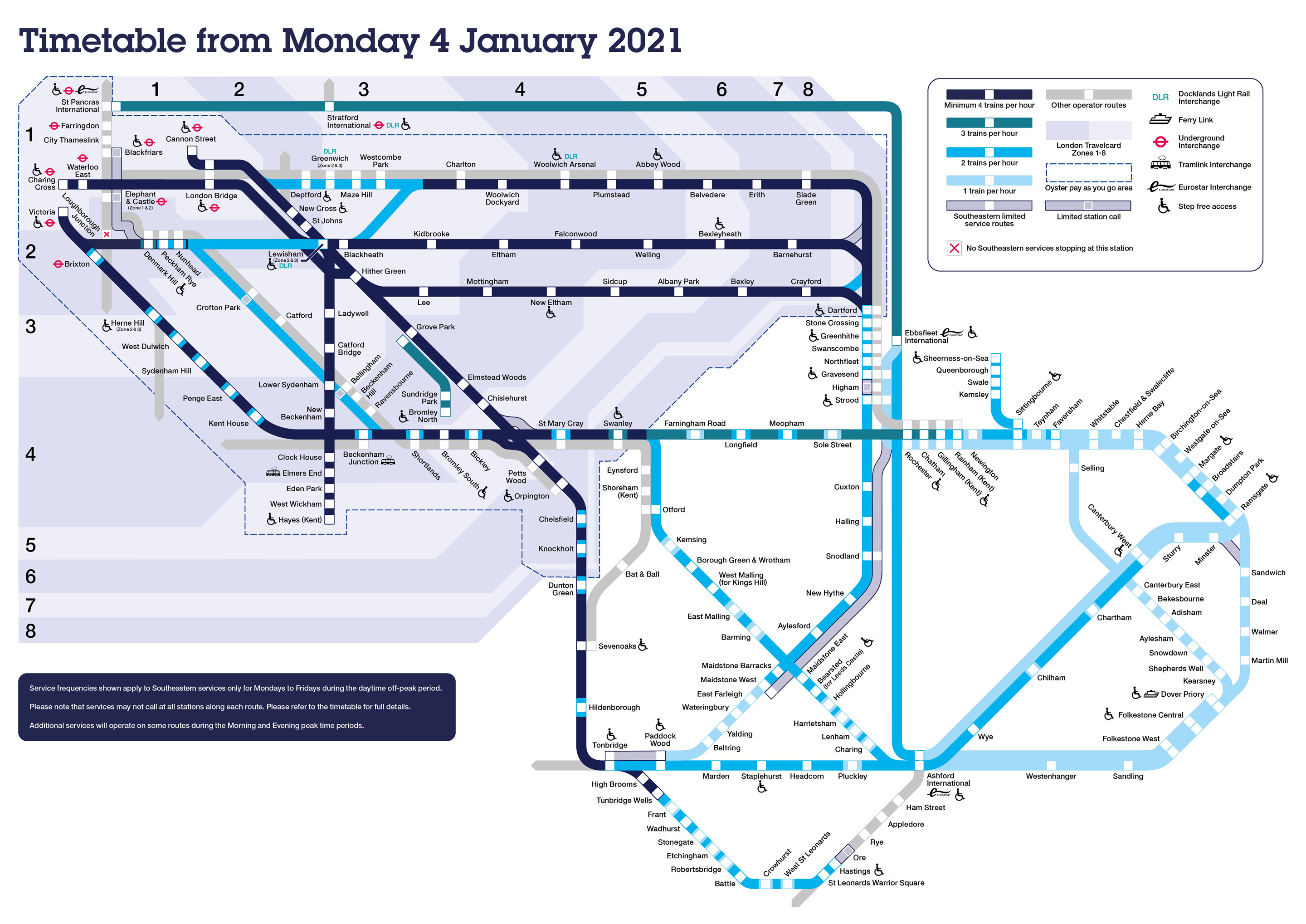 Southeastern timetable map from 4 January 2021