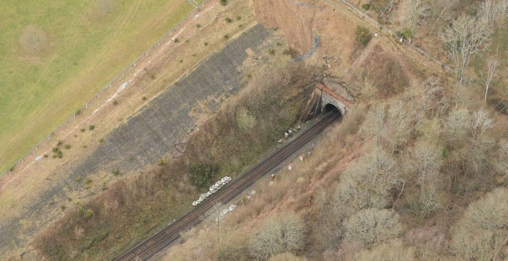 aerial photo of Wadhurst landslip and train track