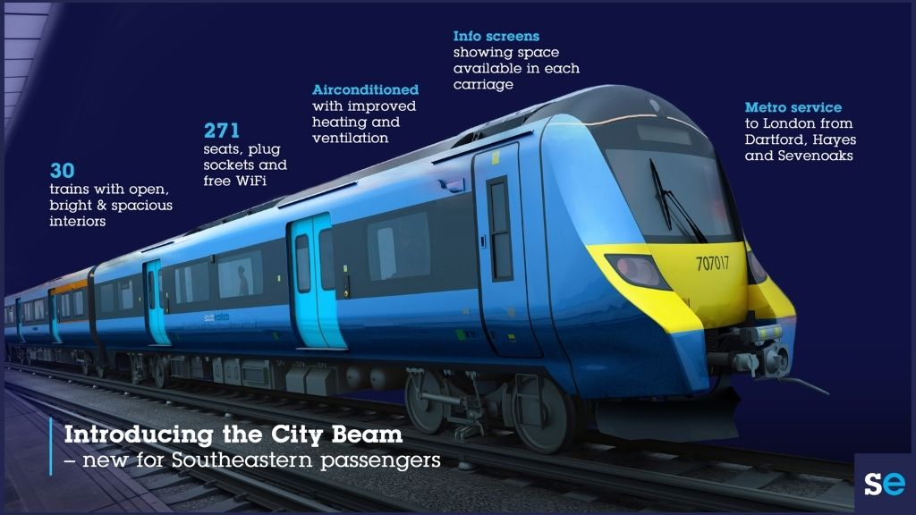 a train that is painted blue