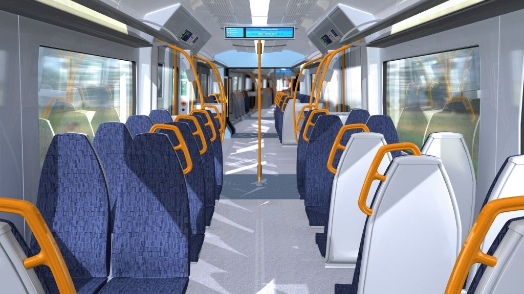 interior of a Class 707 train carriage