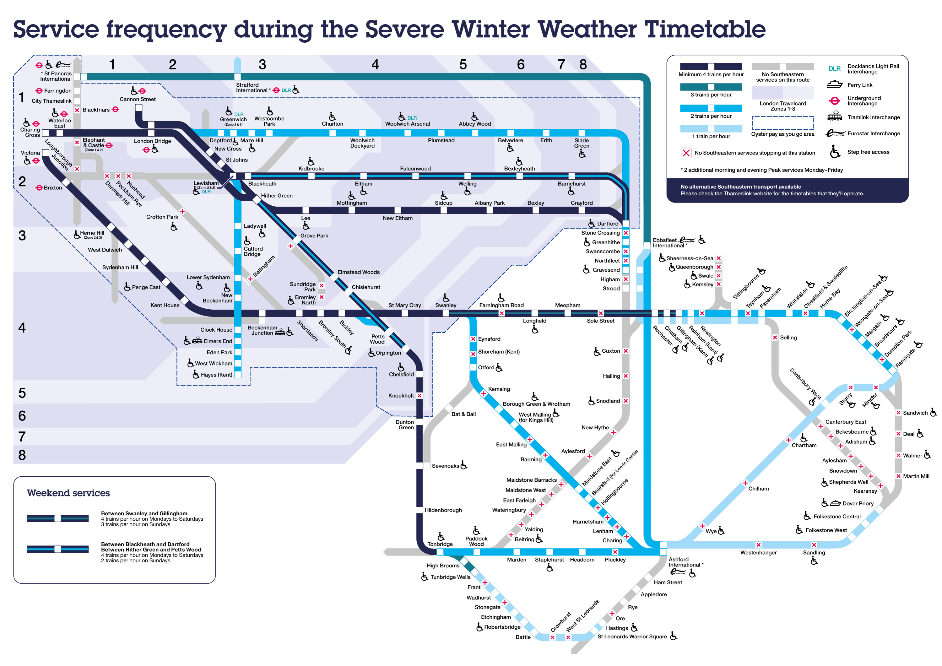 Service frequency during the Severe Winter Weather Timetable