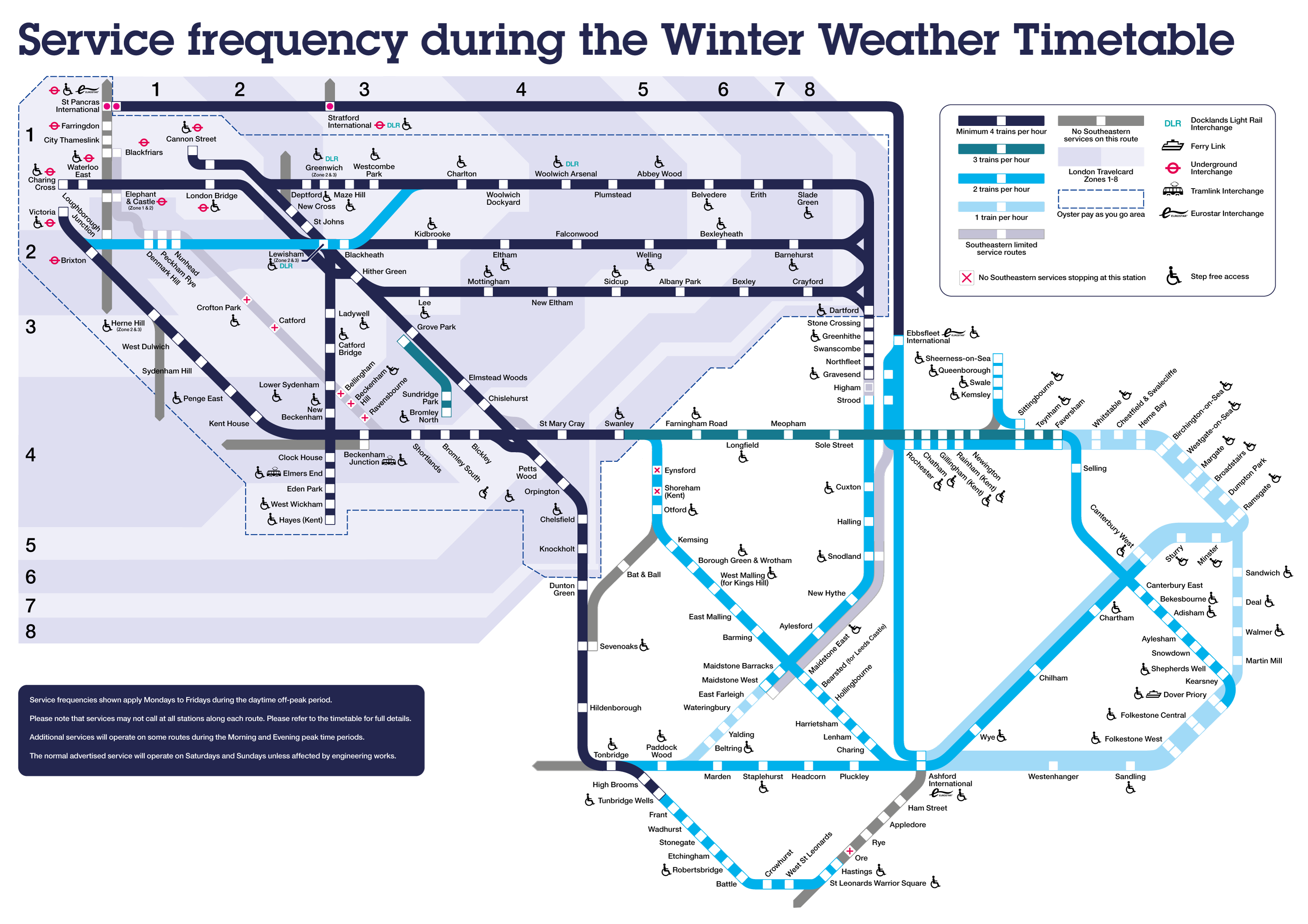 Service frequency during the Winter Weather Timetable