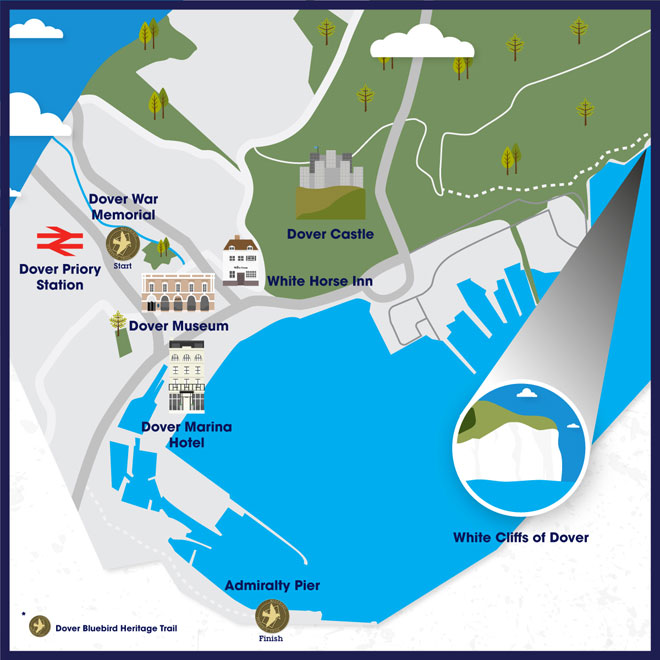 Map showing main attractions in Dover