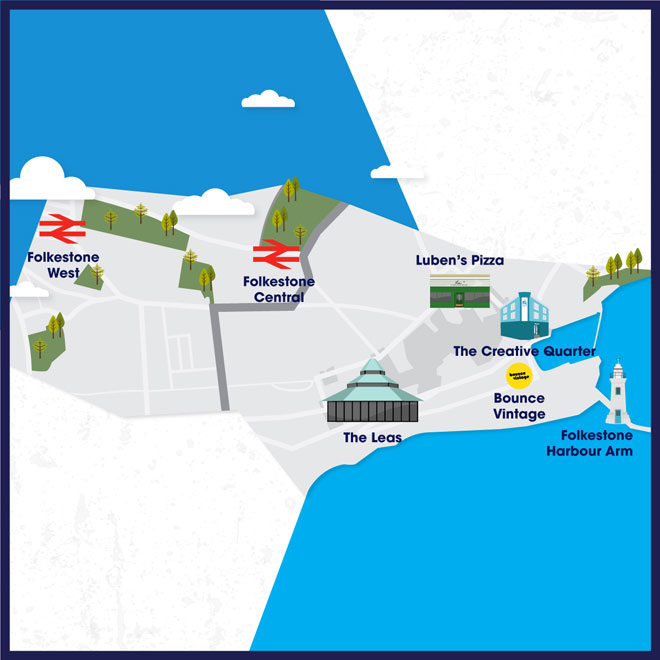 Map showing main attractions in Folkestone