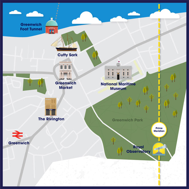 Attraction map of Greenwich